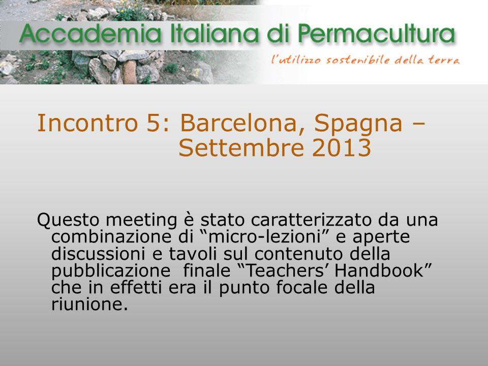 Incontro 5: Barcelona, Spagna – Settembre 2013 Questo meeting è stato caratterizzato da una combinazione di micro-lezioni e aperte discussioni e tavoli sul contenuto della pubblicazione finale Teachers' Handbook che in effetti era il punto focale della riunione.