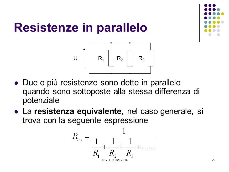 ING. G. Cisci 201422 Resistenze in parallelo Due o più resistenze sono dette in parallelo quando sono sottoposte alla stessa differenza di potenziale