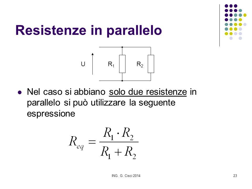 ING. G. Cisci 201423 Resistenze in parallelo Nel caso si abbiano solo due resistenze in parallelo si può utilizzare la seguente espressione R1R1 UR2R2