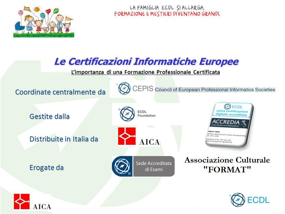 Le Certificazioni Informatiche Europee Coordinate centralmente da Gestite dalla Distribuite in Italia da Erogate da L'importanza di una Formazione Pro