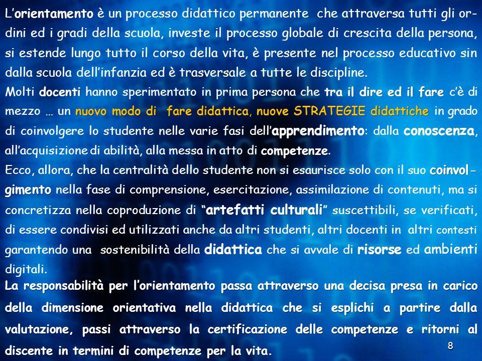 8 orientamento L'orientamento è un processo didattico permanente che attraversa tutti gli or- dini ed i gradi della scuola, investe il processo global