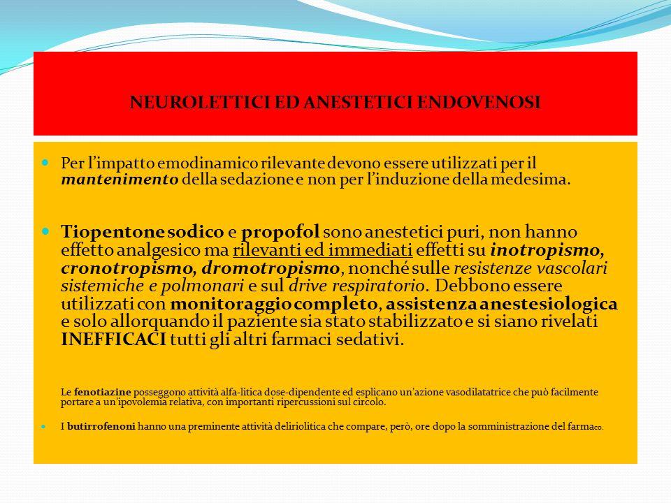 NEUROLETTICI ED ANESTETICI ENDOVENOSI Per l'impatto emodinamico rilevante devono essere utilizzati per il mantenimento della sedazione e non per l'ind