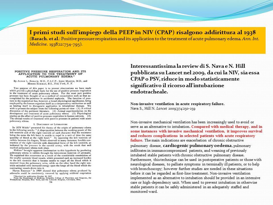 I primi studi sull'impiego della PEEP in NIV (CPAP) risalgono addirittura al 1938 (Barach. et al.: Positive pressure respiration and its application t