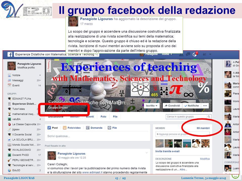 Panagiote LIGOURAS 13 / 25 Lamezia Terme, 31 maggio 2015 Il gruppo facebook della redazione