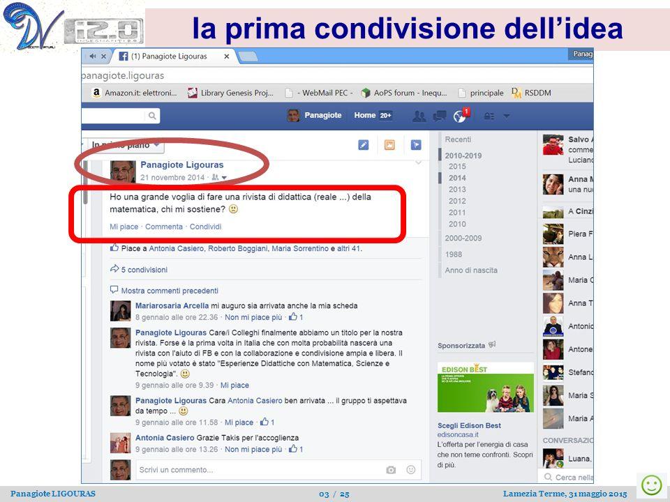 Panagiote LIGOURAS 03 / 25 Lamezia Terme, 31 maggio 2015 la prima condivisione dell'idea