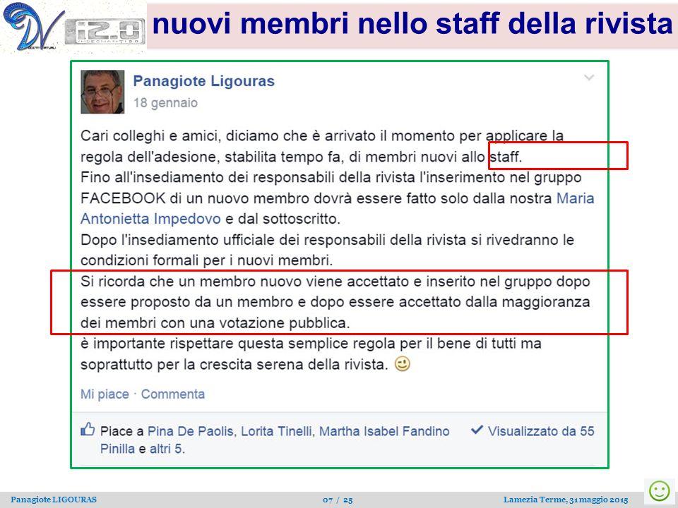 Panagiote LIGOURAS 07 / 25 Lamezia Terme, 31 maggio 2015 nuovi membri nello staff della rivista