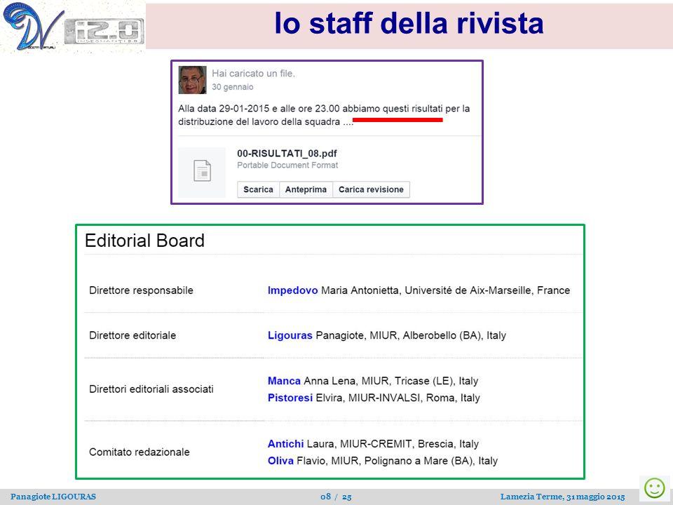 Panagiote LIGOURAS 08 / 25 Lamezia Terme, 31 maggio 2015 lo staff della rivista