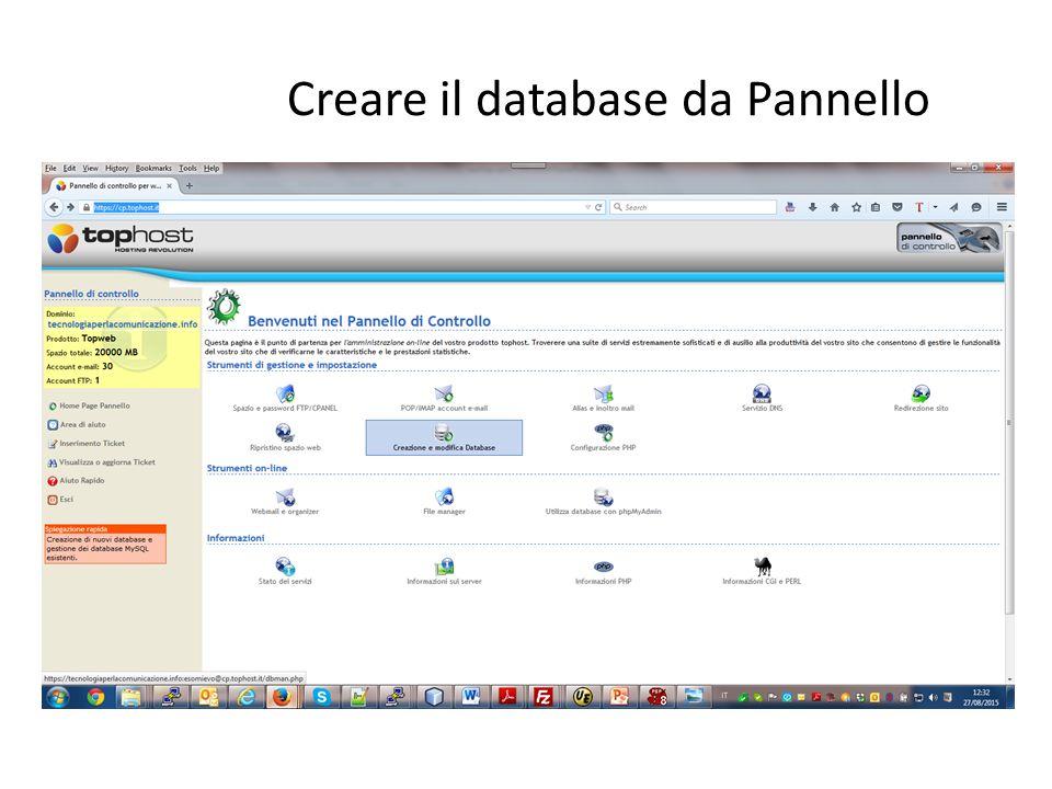 Creare il database da Pannello