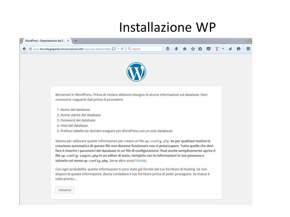 Installazione WP
