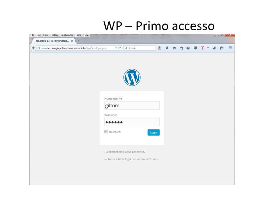 WP – Primo accesso