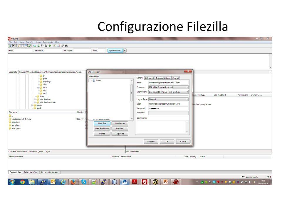 Configurazione Filezilla