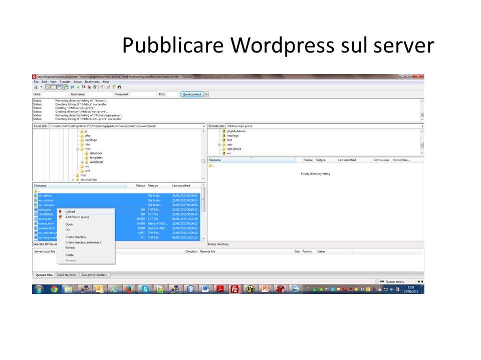 Pubblicare Wordpress sul server