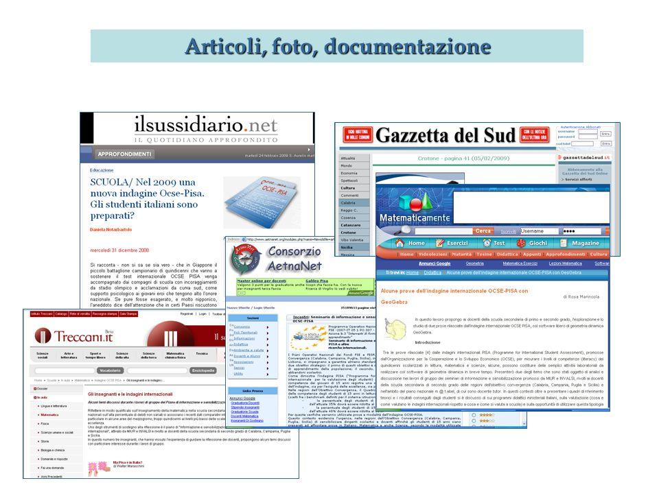 Articoli, foto, documentazione