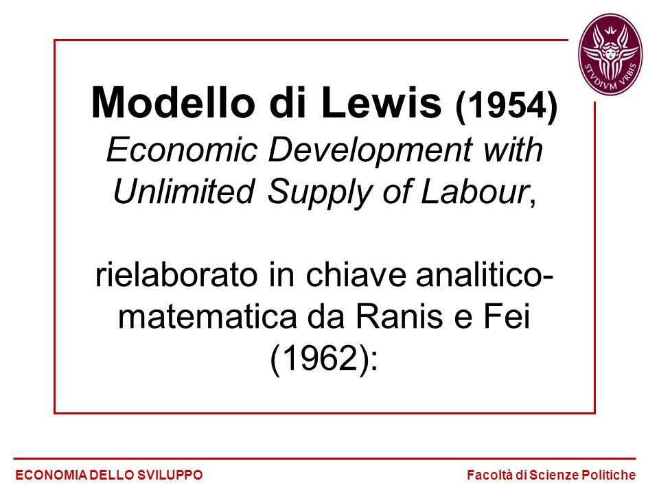 Modello di Lewis (1954) Economic Development with Unlimited Supply of Labour, rielaborato in chiave analitico- matematica da Ranis e Fei (1962): ECONO