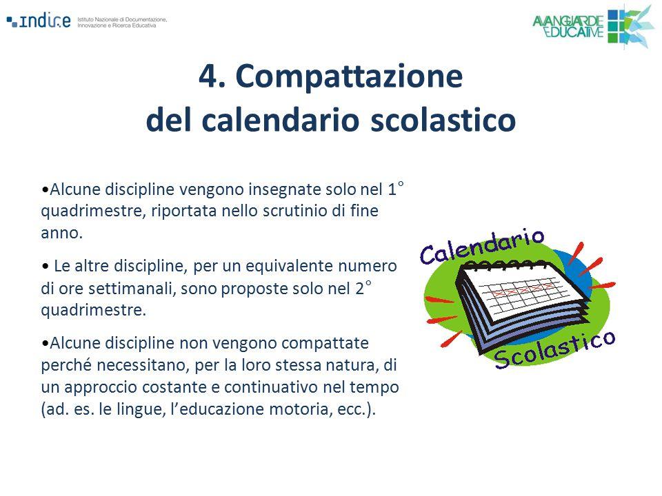 Alcune discipline vengono insegnate solo nel 1° quadrimestre, riportata nello scrutinio di fine anno. Le altre discipline, per un equivalente numero d