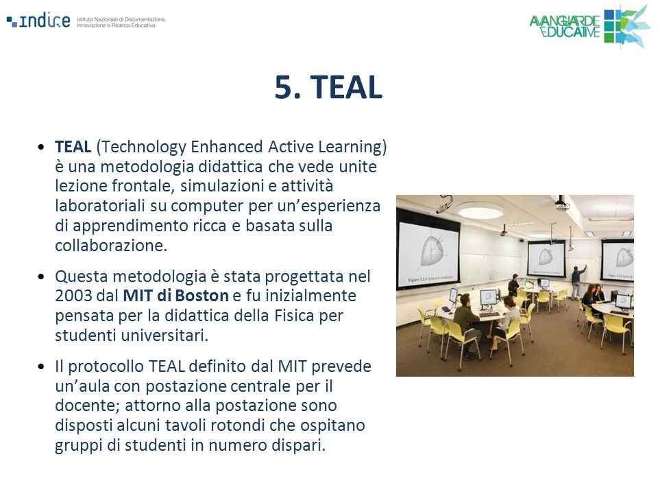 TEAL (Technology Enhanced Active Learning) è una metodologia didattica che vede unite lezione frontale, simulazioni e attività laboratoriali su comput
