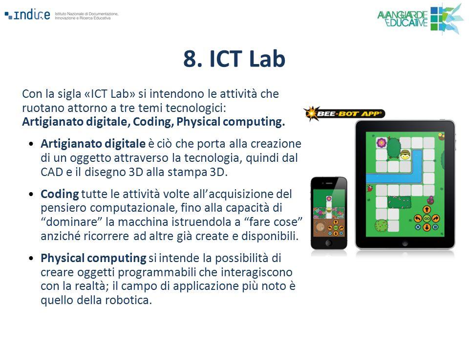 Con la sigla «ICT Lab» si intendono le attività che ruotano attorno a tre temi tecnologici: Artigianato digitale, Coding, Physical computing. Artigian