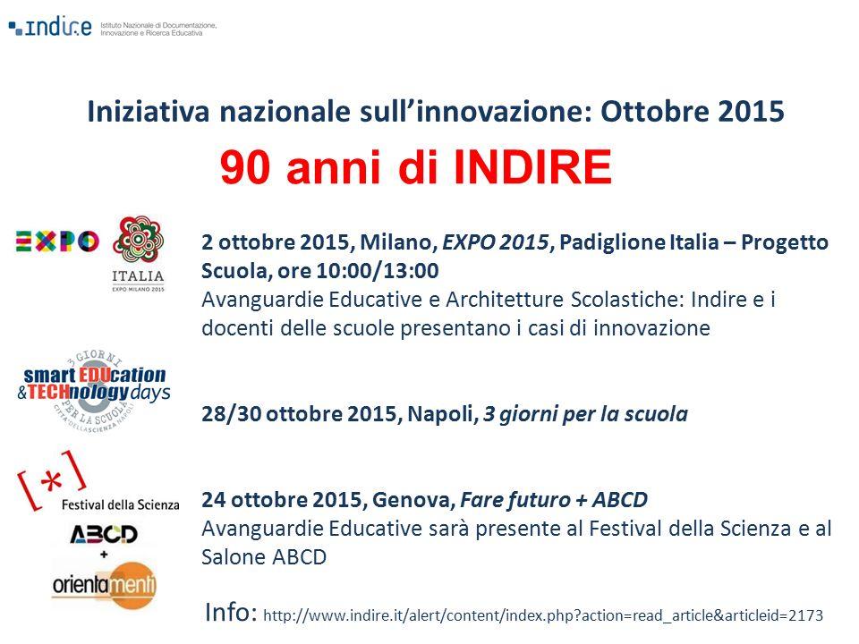 2 ottobre 2015, Milano, EXPO 2015, Padiglione Italia – Progetto Scuola, ore 10:00/13:00 Avanguardie Educative e Architetture Scolastiche: Indire e i d