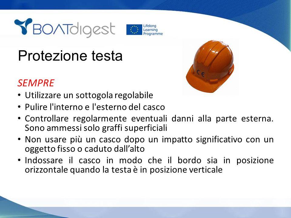 Protezione testa SEMPRE Utilizzare un sottogola regolabile Pulire l interno e l esterno del casco Controllare regolarmente eventuali danni alla parte esterna.