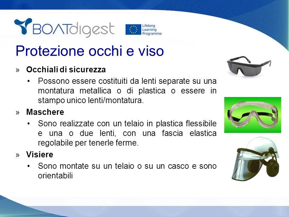 Protezione occhi e viso »Occhiali di sicurezza Possono essere costituiti da lenti separate su una montatura metallica o di plastica o essere in stampo