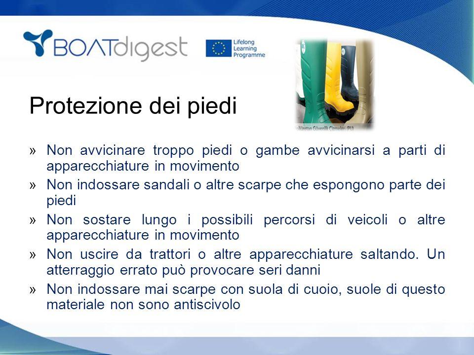 Protezione dei piedi »Non avvicinare troppo piedi o gambe avvicinarsi a parti di apparecchiature in movimento »Non indossare sandali o altre scarpe ch