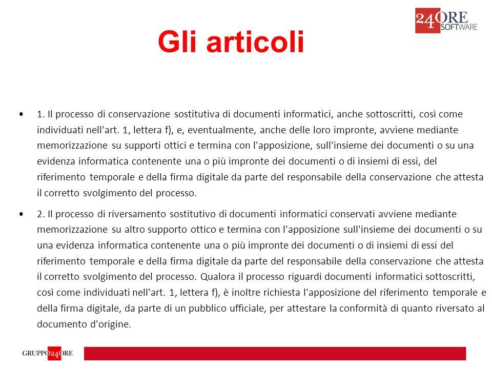 1. Il processo di conservazione sostitutiva di documenti informatici, anche sottoscritti, così come individuati nell'art. 1, lettera f), e, eventualme
