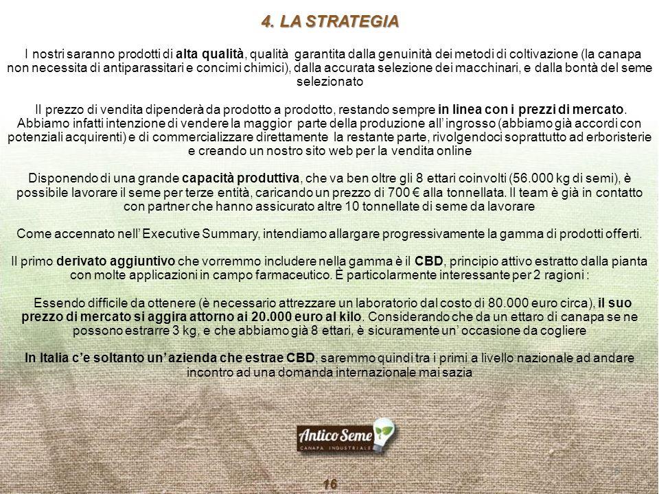 4. LA STRATEGIA I nostri saranno prodotti di alta qualità, qualità garantita dalla genuinità dei metodi di coltivazione (la canapa non necessita di an