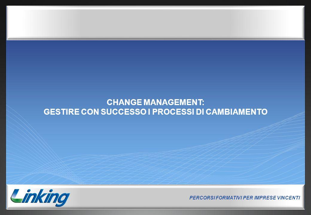 PERCORSI FORMATIVI PER IMPRESE VINCENTI 0 CHANGE MANAGEMENT: GESTIRE CON SUCCESSO I PROCESSI DI CAMBIAMENTO PERCORSI FORMATIVI PER IMPRESE VINCENTI