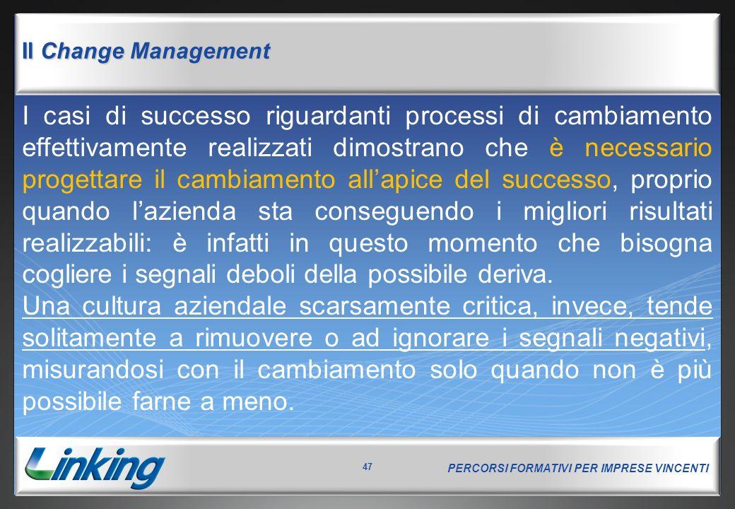 PERCORSI FORMATIVI PER IMPRESE VINCENTI 47 Il Change Management I casi di successo riguardanti processi di cambiamento effettivamente realizzati dimos
