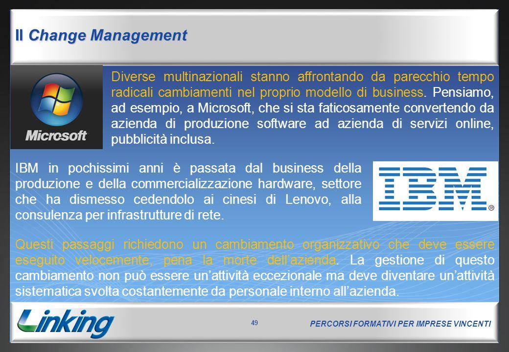 PERCORSI FORMATIVI PER IMPRESE VINCENTI 49 Il Change Management Diverse multinazionali stanno affrontando da parecchio tempo radicali cambiamenti nel proprio modello di business.