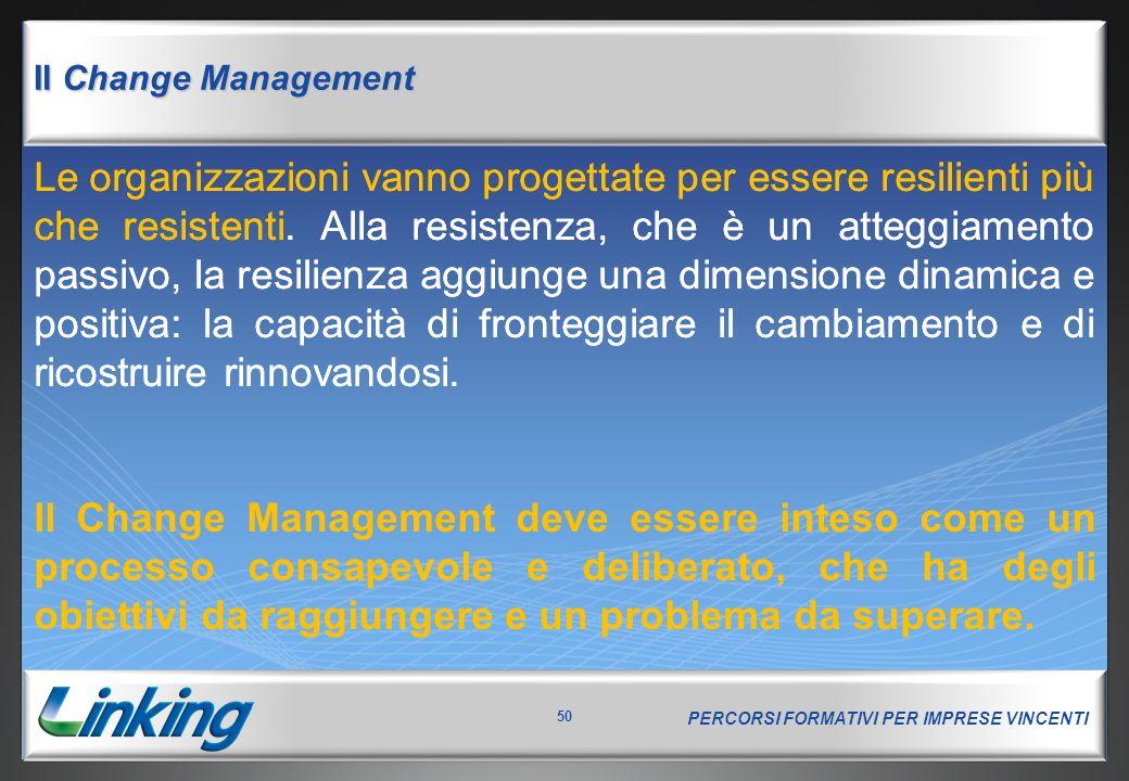 PERCORSI FORMATIVI PER IMPRESE VINCENTI 50 Il Change Management Le organizzazioni vanno progettate per essere resilienti più che resistenti. Alla resi