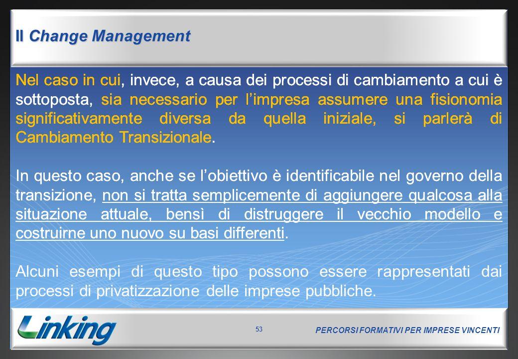 PERCORSI FORMATIVI PER IMPRESE VINCENTI 53 Il Change Management Nel caso in cui, invece, a causa dei processi di cambiamento a cui è sottoposta, sia n