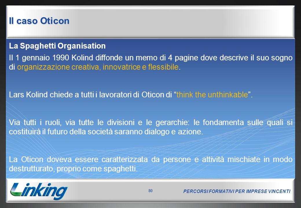 PERCORSI FORMATIVI PER IMPRESE VINCENTI 80 La Spaghetti Organisation Il 1 gennaio 1990 Kolind diffonde un memo di 4 pagine dove descrive il suo sogno di organizzazione creativa, innovatrice e flessibile.