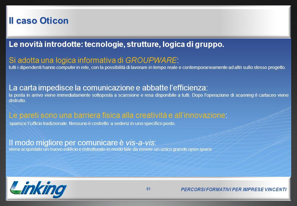PERCORSI FORMATIVI PER IMPRESE VINCENTI 81 Le novità introdotte: tecnologie, strutture, logica di gruppo.