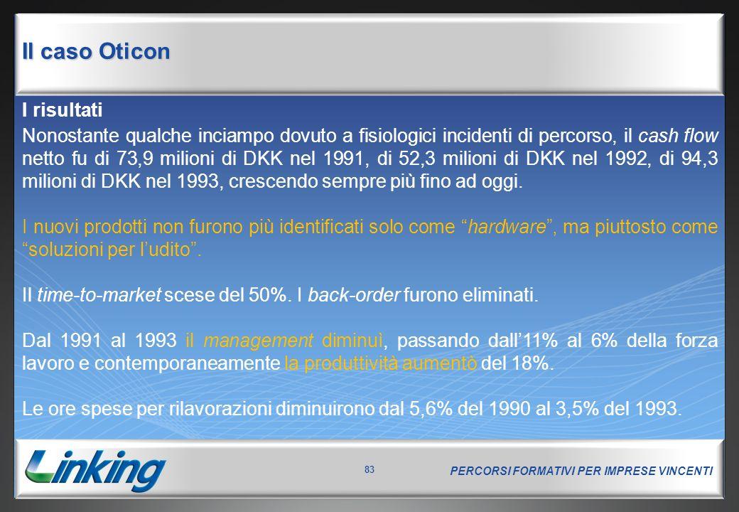 PERCORSI FORMATIVI PER IMPRESE VINCENTI 83 I risultati Nonostante qualche inciampo dovuto a fisiologici incidenti di percorso, il cash flow netto fu di 73,9 milioni di DKK nel 1991, di 52,3 milioni di DKK nel 1992, di 94,3 milioni di DKK nel 1993, crescendo sempre più fino ad oggi.