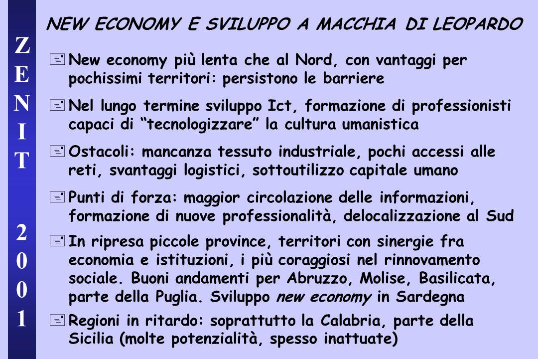 ZENIT 2001ZENIT 2001 NEW ECONOMY E SVILUPPO A MACCHIA DI LEOPARDO +New economy più lenta che al Nord, con vantaggi per pochissimi territori: persiston