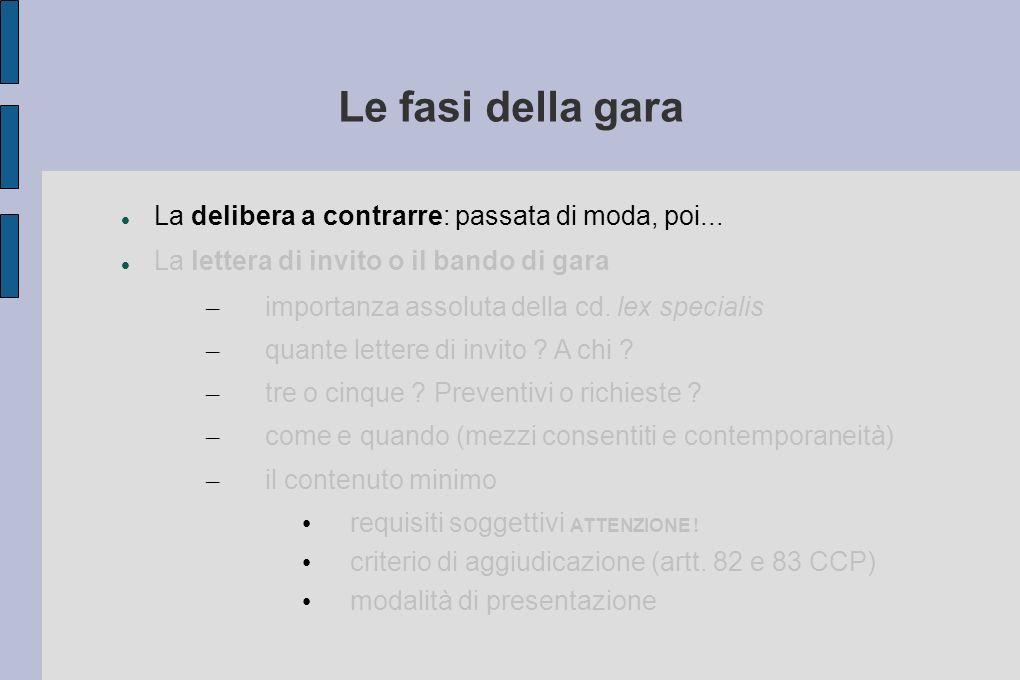 Le fasi della gara La delibera a contrarre: passata di moda, poi... La lettera di invito o il bando di gara – importanza assoluta della cd. lex specia