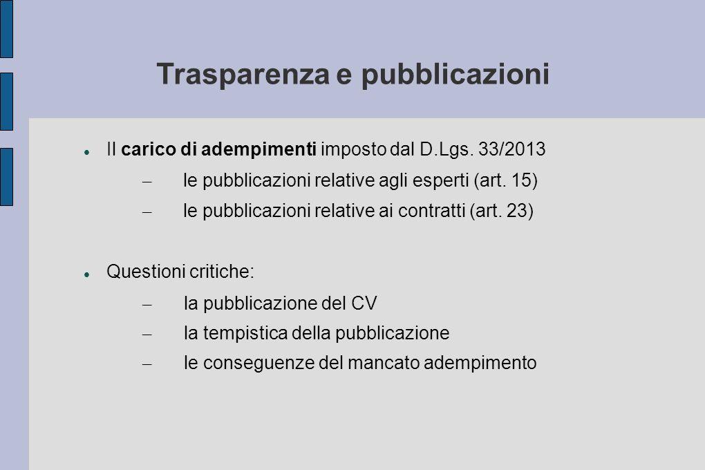 Trasparenza e pubblicazioni Il carico di adempimenti imposto dal D.Lgs. 33/2013 – le pubblicazioni relative agli esperti (art. 15) – le pubblicazioni