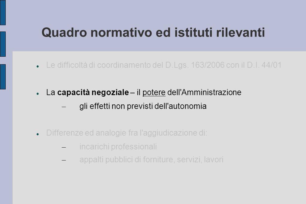 Quadro normativo ed istituti rilevanti Le difficoltà di coordinamento del D.Lgs.