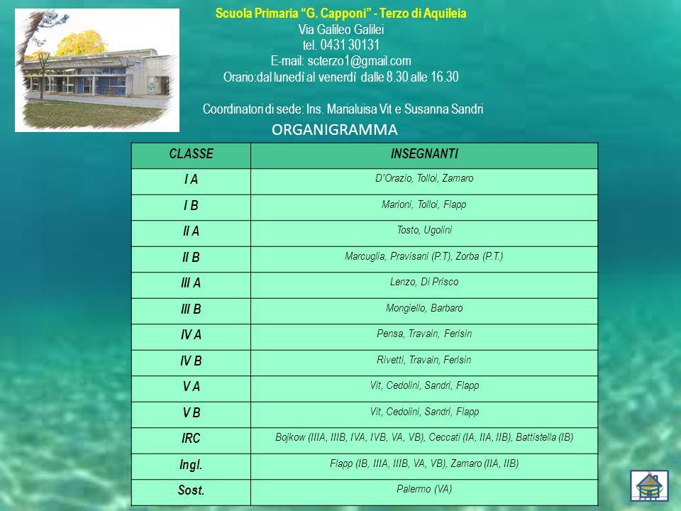 """Scuola Primaria """"G. Capponi"""" - Terzo di Aquileia Via Galileo Galilei tel. 0431 30131 E-mail: scterzo1@gmail.com Orario:dal lunedì al venerdì dalle 8.3"""