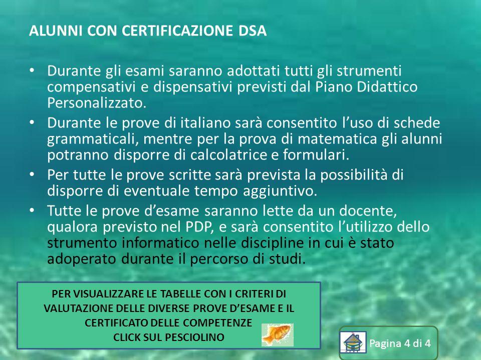 Pagina 4 di 4 ALUNNI CON CERTIFICAZIONE DSA Durante gli esami saranno adottati tutti gli strumenti compensativi e dispensativi previsti dal Piano Dida