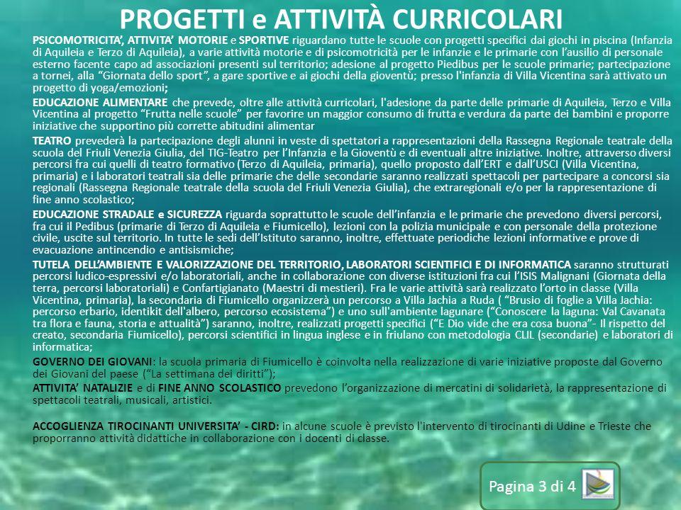 PSICOMOTRICITA', ATTIVITA' MOTORIE e SPORTIVE riguardano tutte le scuole con progetti specifici dai giochi in piscina (Infanzia di Aquileia e Terzo di