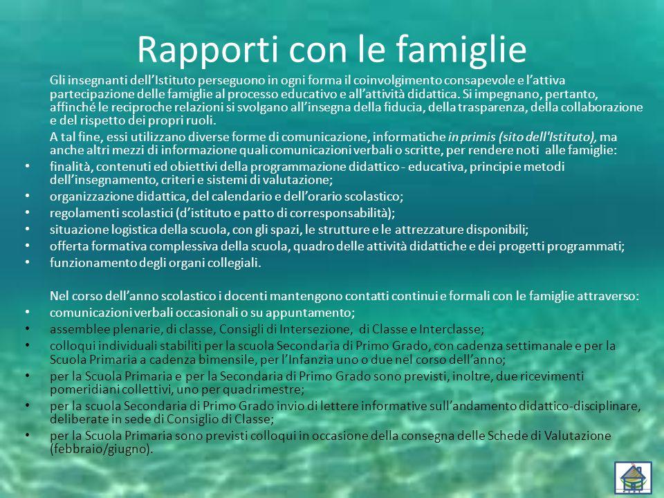 Rapporti con le famiglie Gli insegnanti dell'Istituto perseguono in ogni forma il coinvolgimento consapevole e l'attiva partecipazione delle famiglie