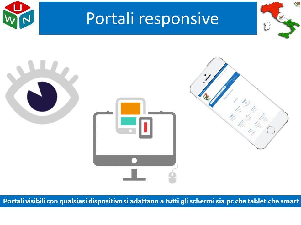 Portali responsive Portali visibili con qualsiasi dispositivo si adattano a tutti gli schermi sia pc che tablet che smart