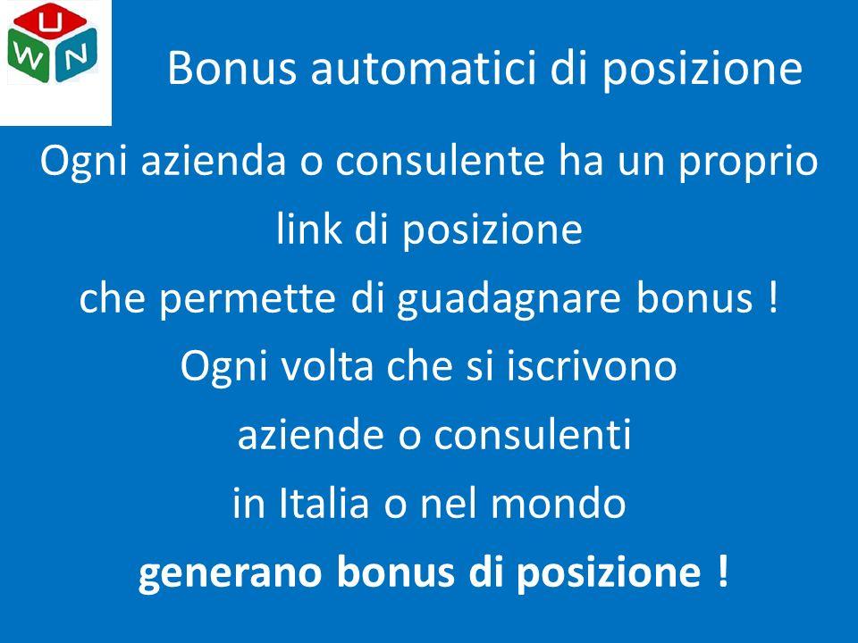 Ogni azienda o consulente ha un proprio link di posizione che permette di guadagnare bonus .