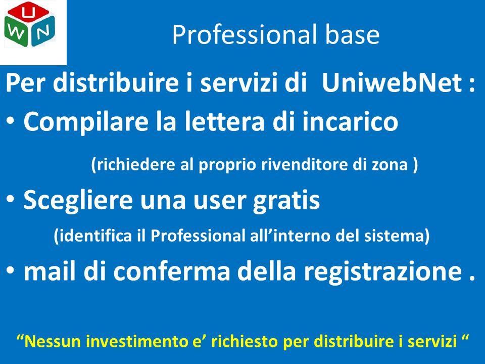 Per distribuire i servizi di UniwebNet : Compilare la lettera di incarico (richiedere al proprio rivenditore di zona ) Scegliere una user gratis (identifica il Professional all'interno del sistema) mail di conferma della registrazione.