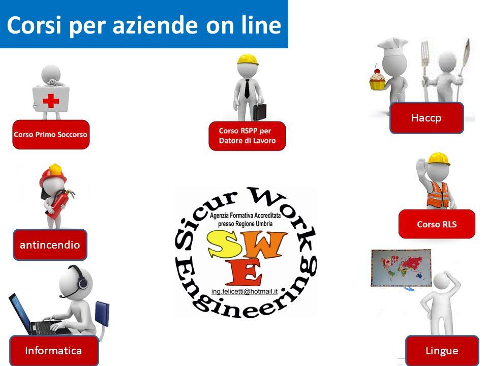 Corsi per aziende on line Haccp Informatica antincendio Lingue