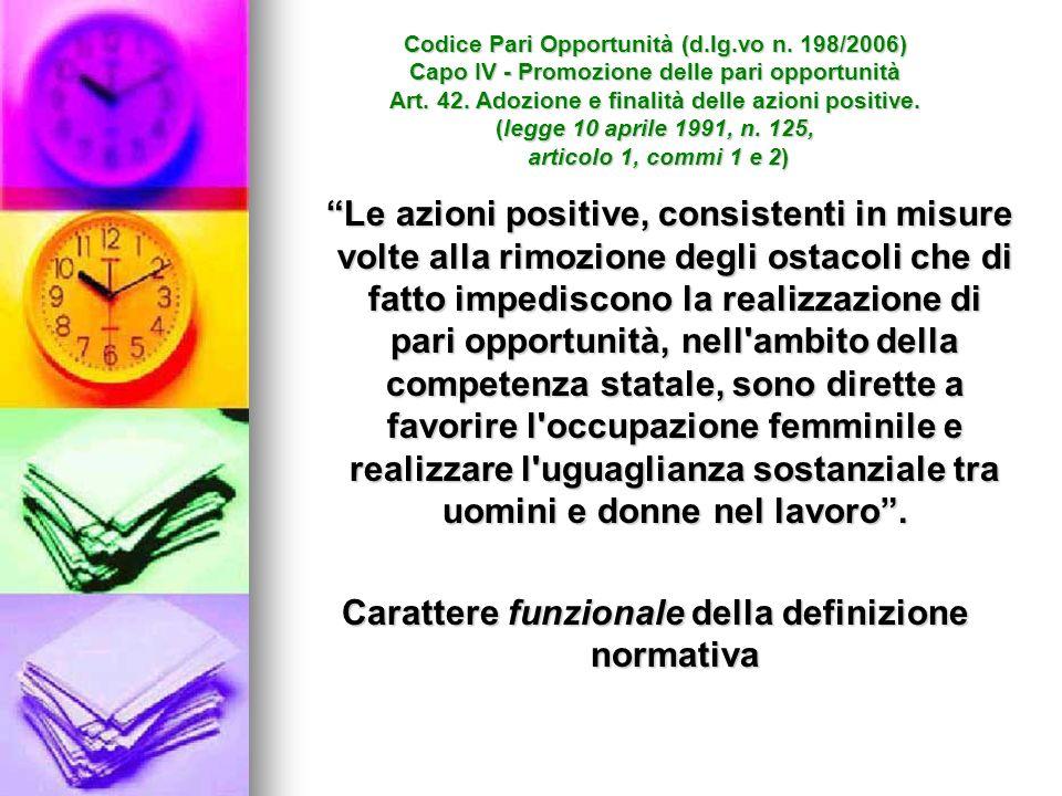 Codice Pari Opportunità (d.lg.vo n. 198/2006) Capo IV - Promozione delle pari opportunità Art.