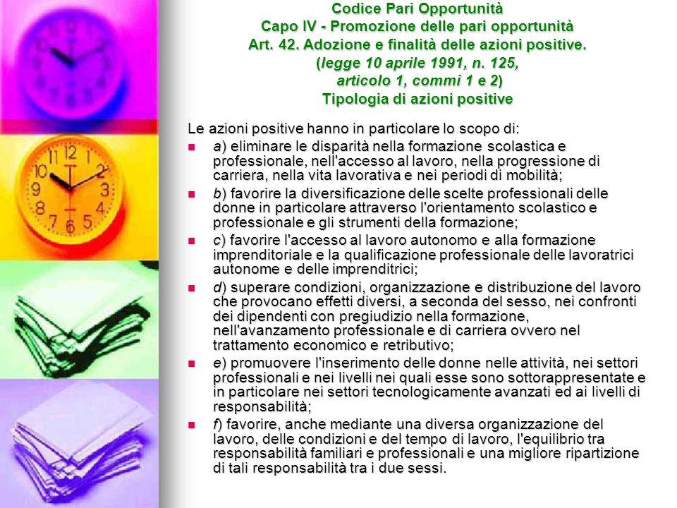 Codice Pari Opportunità Capo IV - Promozione delle pari opportunità Art.
