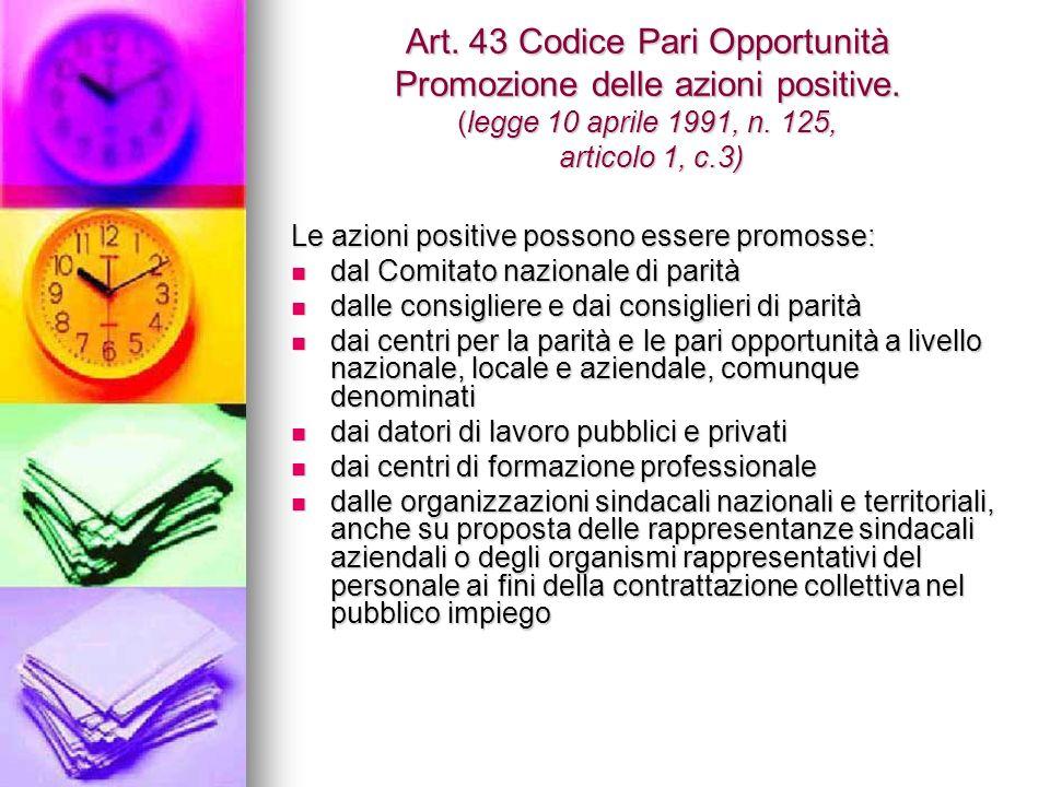 Art. 43 Codice Pari Opportunità Promozione delle azioni positive.